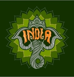 Indian elephant with the word india vector