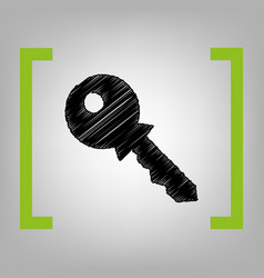 key sign black scribble icon vector image