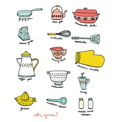 Kitchen and Cooking Doodles vector image vector image