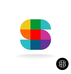 Letter s colorful rainbow square and sector vector