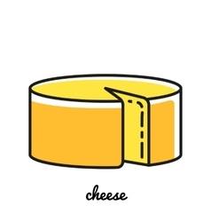 Line art cheese icon infographic element vector