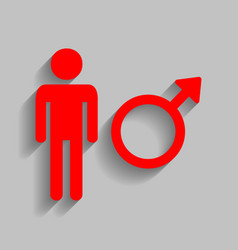 male sign red icon with soft vector image vector image