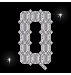 Metal letter q gemstone geometric shapes vector