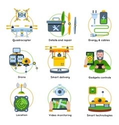 New technologies concept icon set vector