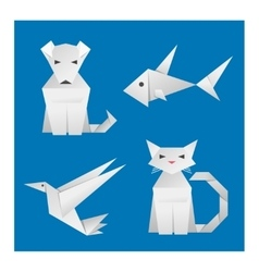 Paper origami animals vector