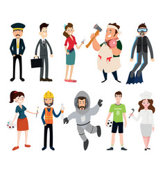 profession set on white background vector image vector image