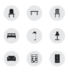 set of 9 editable furnishings icons includes vector image
