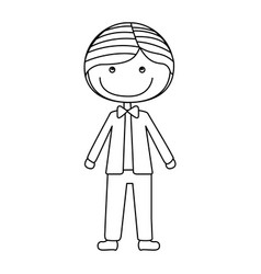 Silhouette caricature guy with jacket and pants vector