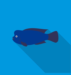 stearocranus fish icon flat singe aquarium fish vector image