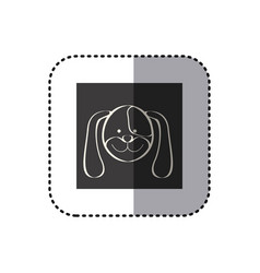 sticker of black background square with face of vector image vector image