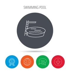 Swimming pool icon jumping into water sign vector