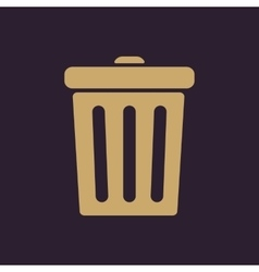 The trashcan icon dustbin symbol flat vector
