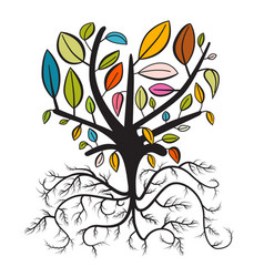Tree with colorful leaves and curled roots vector