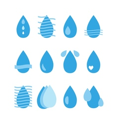 Water drop icons set Aqua Collection of water vector image
