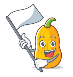 With flag butternut squash mascot cartoon vector