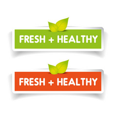 Fresh and healthy label set vector