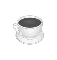 Cup of coffee icon black monochrome style vector