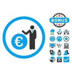 Euro economist flat icon with bonus vector