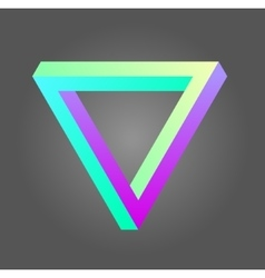 Penrose triangle in neon colors vector image