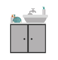 Gray scale silhouette washstand with cabinet vector