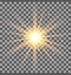 Gold rays light effect isolated on transparent bac vector
