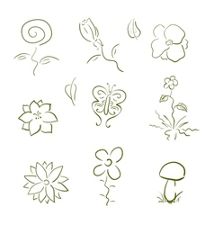 Flora and fauna design elements set vector