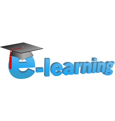 E learning graduation cap word 3d vector
