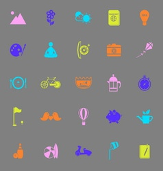 Slow life activity color icons on gray background vector