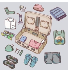 Suitcase with things clothing for travelling vector