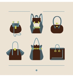 Collection of woman bags and purses vector