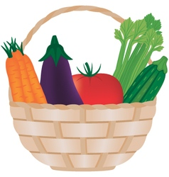 Fresh vegetables in a wicker basket vector