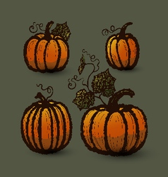 Ink hand drawn pumpkins set vector