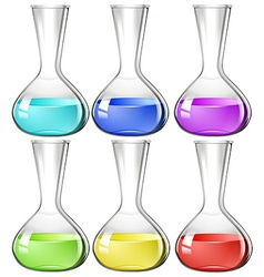 Liquid substance in glass beakers vector