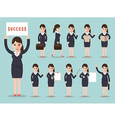 Business woman character set vector