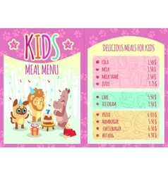 Kids meal menu with animal characters vector