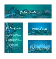 Set of cards with an ice cube background vector