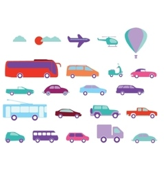 Public transport flat icons vector
