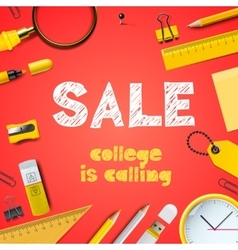 Back to school sale college is calling vector
