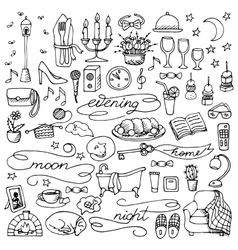 Hand drawn evening set vector