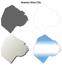 Buenos aires city blank outline map set vector
