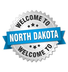 North dakota 3d silver badge with blue ribbon vector