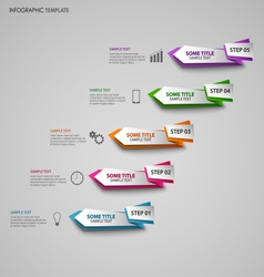 Info graphic with colored folded design pointers vector