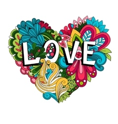 Doodle floral heart with Love lettering vector image