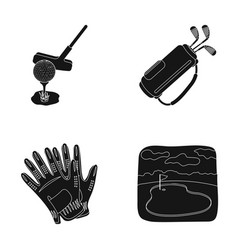 A ball with a golf club a bag with sticks gloves vector