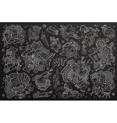 Art and paint materials doodles chalkboard vector