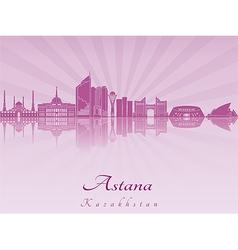 Astana skyline in purple radiant orchid vector