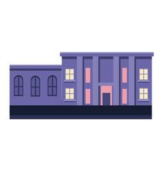 Building purple business exterior facade columns vector
