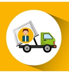 Cute boy recycle ecology icon garbage truck vector