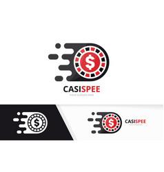 fast casino logo combination speed chip vector image
