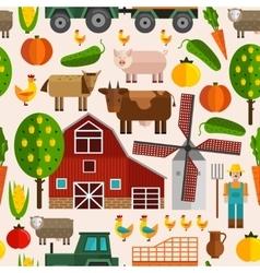 Flat Farm Pattern vector image vector image